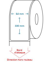 64 mm x 330 mm Étiquettes à rouleaux