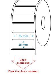 65 mm x 25 mm Étiquettes à rouleaux
