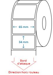 65 mm x 34 mm Étiquettes à rouleaux