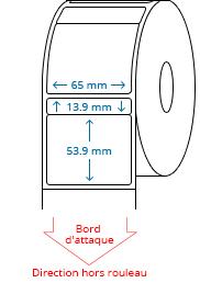 65 mm x 13.9 mm / 65 mm x 53.9 mm Étiquettes à rouleaux