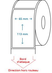 65 mm x 113 mm Étiquettes à rouleaux