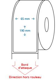 65 mm x 190 mm Étiquettes à rouleaux