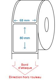 68 mm x 80 mm Étiquettes à rouleaux