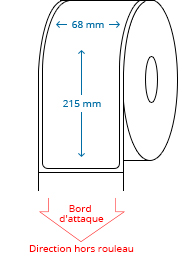 68 mm x 215 mm Étiquettes à rouleaux