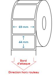 69 mm x 44 mm Étiquettes à rouleaux