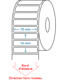 70 mm x 16 mm Étiquettes à rouleaux