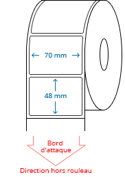 70 mm x 48 mm Étiquettes à rouleaux