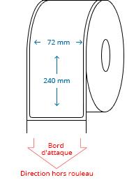 72 mm x 240 mm Étiquettes à rouleaux
