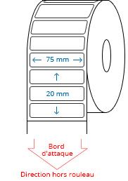 75 mm x 20 mm Étiquettes à rouleaux