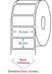 75 mm x 35 mm Étiquettes à rouleaux