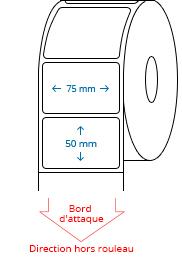 75 mm x 50 mm Étiquettes à rouleaux