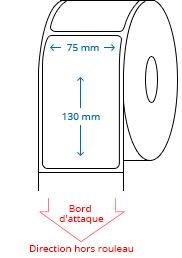 75 mm x 130 mm Étiquettes à rouleaux
