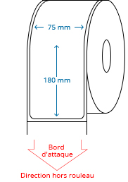 75 mm x 180 mm Étiquettes à rouleaux