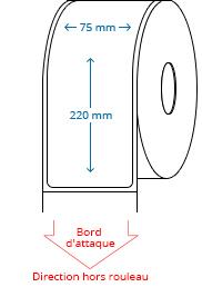 75 mm x 220 mm Étiquettes à rouleaux