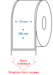 75 mm x 286 mm Étiquettes à rouleaux