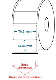 76.2 mm x 44.45 mm Étiquettes à rouleaux