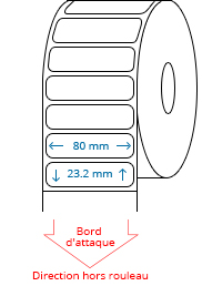 80 mm x 23.2 mm Étiquettes à rouleaux