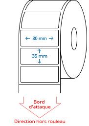 80 mm x 35 mm Étiquettes à rouleaux