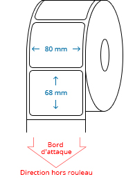 80 mm x 68 mm Étiquettes à rouleaux
