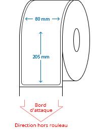 80 mm x 205 mm Étiquettes à rouleaux