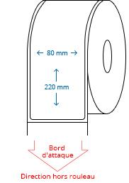 80 mm x 220 mm Étiquettes à rouleaux