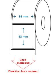 86 mm x 93 mm Étiquettes à rouleaux