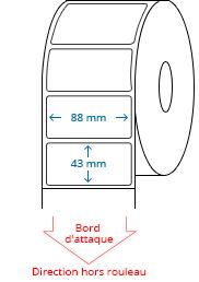 88 mm x 43 mm Étiquettes à rouleaux