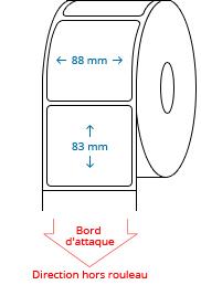 88 mm x 83 mm Étiquettes à rouleaux