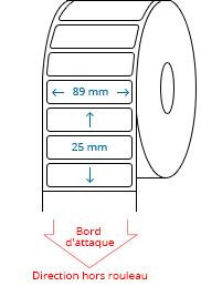 89 mm x 25 mm Étiquettes à rouleaux
