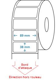 89 mm x 38 mm Étiquettes à rouleaux
