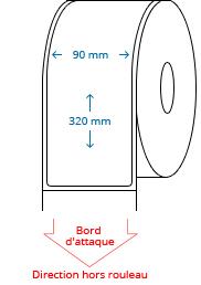 90 mm x 320 mm Étiquettes à rouleaux