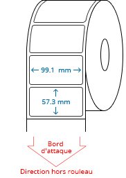 99.1 mm x 57.3 mm Étiquettes à rouleaux
