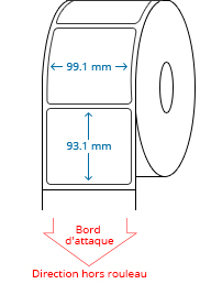 99.1 mm x 93.1 mm Étiquettes à rouleaux
