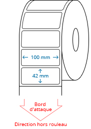 100 mm x 42 mm Étiquettes à rouleaux