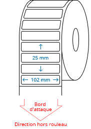 102 mm x 25 mm Étiquettes à rouleaux