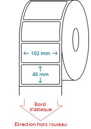 102 mm x 45 mm Étiquettes à rouleaux