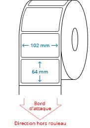 102 mm x 64 mm Étiquettes à rouleaux