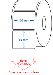 102 mm x 83 mm Étiquettes à rouleaux