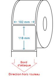 102 mm x 118 mm Étiquettes à rouleaux