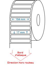 104 mm x 17 mm Étiquettes à rouleaux