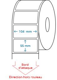 104 mm x 55 mm Étiquettes à rouleaux