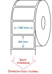 108 mm x 64 mm Étiquettes à rouleaux