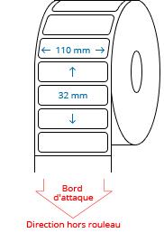 110 mm x 32 mm Étiquettes à rouleaux