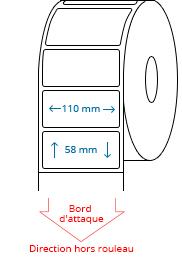 110 mm x 58 mm Étiquettes à rouleaux