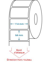 114 mm x 64 mm Étiquettes à rouleaux