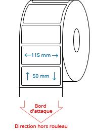 115 mm x 50 mm Étiquettes à rouleaux