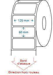 125 mm x 60 mm Étiquettes à rouleaux