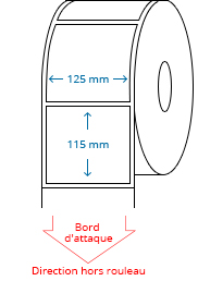 125 mm x 115 mm Étiquettes à rouleaux