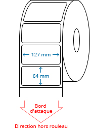 127 mm x 64 mm Étiquettes à rouleaux