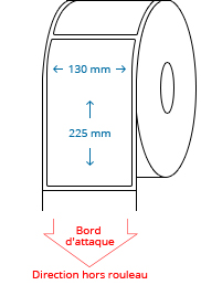 130 mm x 225 mm Étiquettes à rouleaux